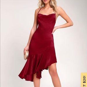 Lulus wine red  satin asymmetrical slip dress